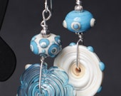 Asymmetrical ivory Turqouise Lampworking Beaded Sterling Silver Earrings