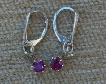 Rubellite  tourmaline earrings with sterling silver leverbacks