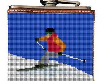 Skiing Needlepoint Flask