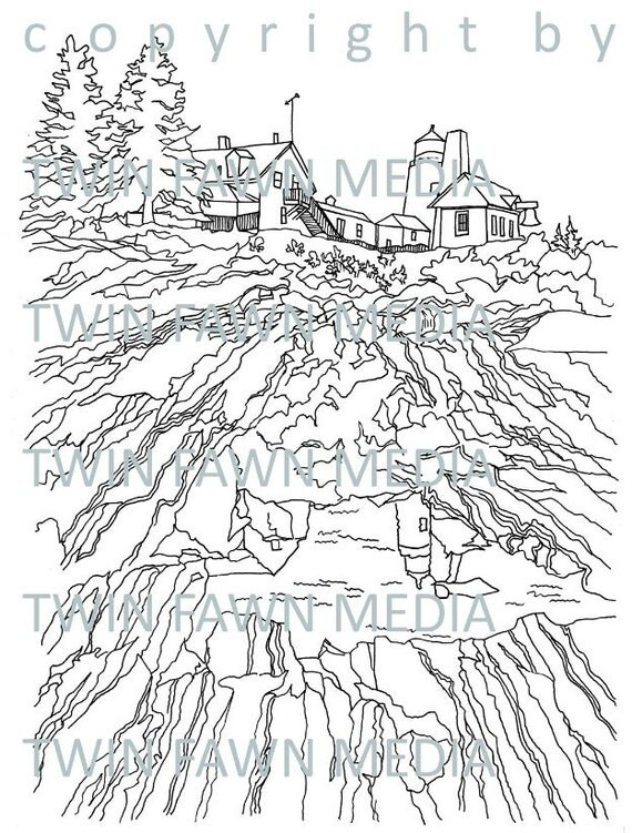 PEMAQUID POINT LIGHTHOUSE coloring page adult coloring