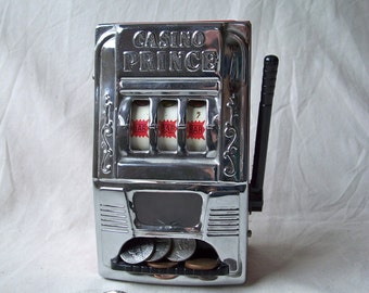 Casino Prince Slot Machine Bank, by Waco Product of Japan, 1960's One Armed Bandit Coin Bank