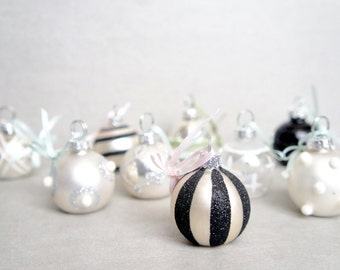 9 Pastel Ornaments - Small Pastel Glass Easter Ornaments - Small Flat Bottom Ornaments - Small Easter Tree Ornaments - Black And White
