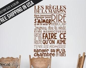 Les règles de la maison ~ Décalque mural  ~ Vinyle ~ Couleur et taille sur mesure ~ Français ~ French Decal
