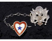 Vintage Sterling WW2 Army Eagle on Shield Red White & Blue Star Heart Sweetheart Pin Brooch