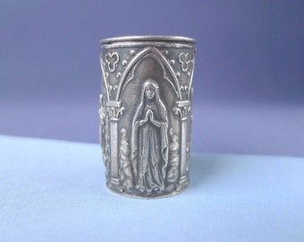 Vintage Mother Mary Notre Dame Fleur De Lis Holy Water Container