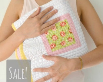 SALE baby quilt for girl - pink yellow white and green colors - crib bedding