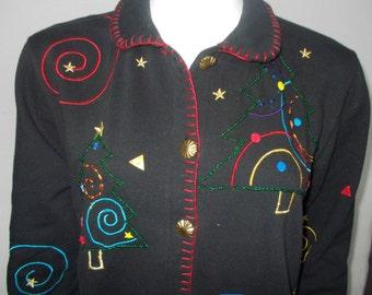 Ugly Christmas Knit sweatshirt jacket PL Karen Scott Sport petite Holiday pine trees embroidery seed beadsCotton polyester long sleeves