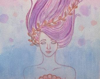 Lorelei - Original Watercolor by Dana Oh