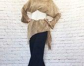 Vintage 90s Peasant Tunic Top Gauze Tie-Dye Cotton Bell Cuffs Ren Fair Brown