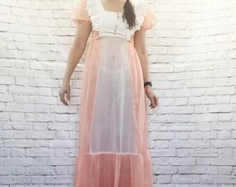 Vintage 70s Peach Polka Dot Prairie Maxi Dress Ruffled Sheer Bow Belt