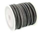 Faux Suede Cord :  5 meters (16 feet) Gray 3x1.5mm Lace Cord | Grey Flat Faux Leather Bracelet Cord |  Suede Cording 003-02
