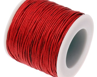 Waxed Cord : Red 1mm Waxed Cotton Cord String | Bracelet Cord | Macrame Cord | Chinese Knotting Cord [Choose 10 feet or 30 feet] 118