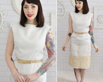 Vintage 1960s Off White Pencil Dress with Belt and Tan Lace by Henley Jr Size XS or Small