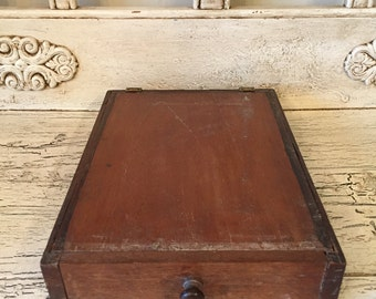 Rustic Wooden Covered Drawer - Small Wooden Storage Desk Drawer