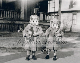 Hamster Art Print, Sister Art, Anthropomorphic Art, Black and White, Retro Art, Easter Art, Animals in Clothes