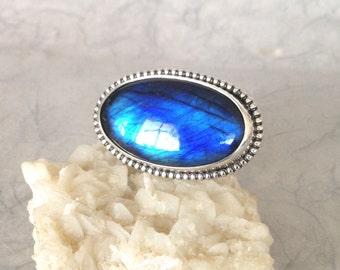 Silver Ring, Blue Labradorite, size 6, unique handmade gift, ready to ship