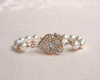 Rose Gold Bridal Bracelet,  Pearl Wedding jewelry, Bridal Earrings, Swarovski pearls crystals Bridesmaids jewelry Alexandra Bracelet