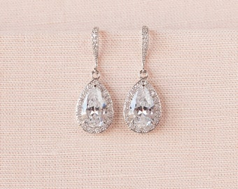 Crystal Bridal earrings  Wedding jewelry Swarovski Crystal Wedding earrings Bridal jewelry, Ariel Drop Earrings