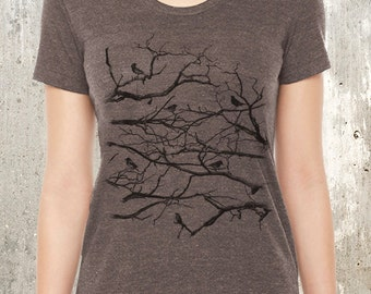 Women's Tri Blend T-Shirt - Birds on Branches - Women's Small Through XL Available