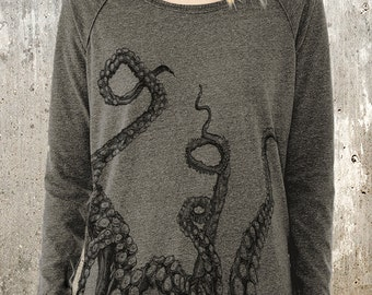 Women's Pullover Sweater - Octopus Tentacles - Alternative Apparel Locker Room Pullover - Women's Small - XL Available
