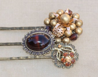 TRUE Vintage Topaz Amber Jeweled Hair Pins,Bridal Bobby Pins,Set of Three, Repurposed Earring Brooch,Fall Wedding,Bridesmaids,Antique Brass