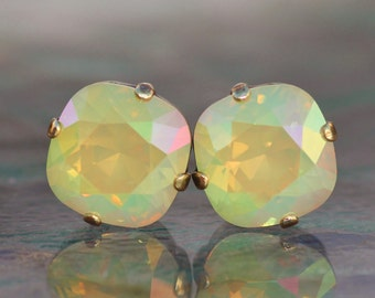 RARE Swarovski Lemon Yellow Opal Stud,Swarovski Cushion Stud Earring,Yellow Opal Post Earring,Vintage Swarovski Crystal Rhinestone,Weddings