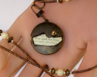 34 Inch Long Necklace - Brass & Peridot Jasper - Locket Necklace - Live and Let Live - Steampunk Style - Extra Long Necklace