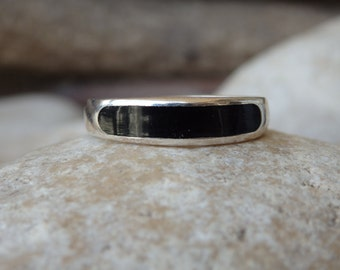Onyx Band Ring, 925 Sterling Silver Ring, Black Onyx Ring, Men's Black Ring, Black Band Ring. Silver Band Ring, Men's Jewelry, Men's Ring