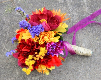 Fall wedding bouquet, purple red orange yellow flowers, Ready to ship