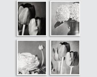 Black and White Flower Print or Canvas Art Set of 4 Prints, Flower Photography, Black and White Art, Bathroom Decor Set, Elegant Silver.