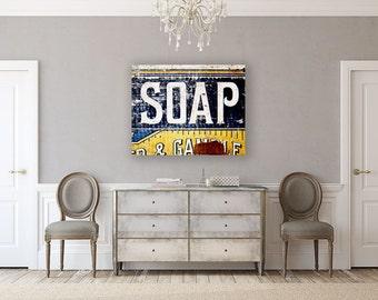 Canvas Art: Rustic Bathroom Decor, Bathroom Decor, Laundry Room Art, Ready to Hang, Gallery Wrapped Canvas Wall Art, Blue Yellow.