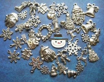 Big Collection of 37 Holiday Christmas Charms in Silver Tone - C2473