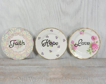 Decorative wall plates, Vintage china plate, hanging wall plates, handpainted words