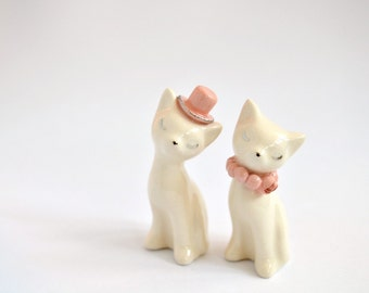 Cat cake topper, wedding cake topper, pink silver ivory - ceramic cat cake topper wedding, bride and groom cats - wedding keepsake