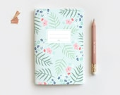 Mint Floral Journal & Pencil Set, Midori Insert - Hand Drawn Illustrated Palm Leaf Floral Notebook - 3 Sizes - Blank, Lined or Dot Grid