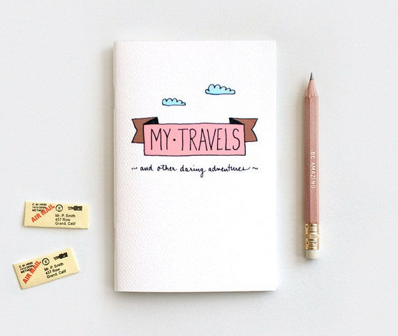 Travel Journal & Pencil Set, Stocking Stuffer Gift Set, Cute Recycled Notebook - My Travels and Daring Adventures, Graduation Gift