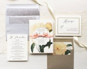 """Silver and Ivory Floral Wedding Invitations, Blush and Gold, Silver Glitter, Script Fonts, Envelope Liners - """"Ivory & Gold Peony"""" Sample"""