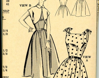 1950s Mail Order Heart Tie Shoulder Sundress with Bolero Jacket Sewing Pattern 2364, Size 16, Bust 34, Factory Folded