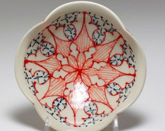 Small Wheel Thrown Handmade Ceramic Bowl with Red, Melon and Navy Pattern