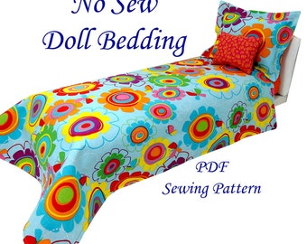 No Sew Doll Bedding Pattern and Tutorial Fits any size doll bed
