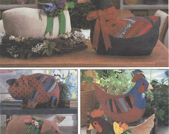 1980s Marjorie Puckett Set of Stuffed Animals Goose, Pig & Chicken Simplicity Sewing Pattern 8538 UnCut Patchwork Animal Patterns