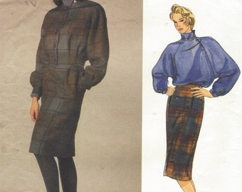 1980s Perry Ellis Womens Bomber Style Jacket, Skirt & Blouse Vogue Sewing Pattern 1624 Size 12 Bust 34 UnCut Vogue American Designer