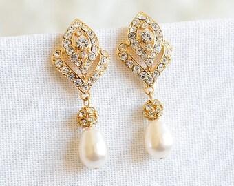 Bridal Jewelry, Art Deco Bridal Earrings, Swarovski Pearl Wedding Earrings, Vintage Style Wedding Jewelry, Rhinestone Stud Earrings, LORNA