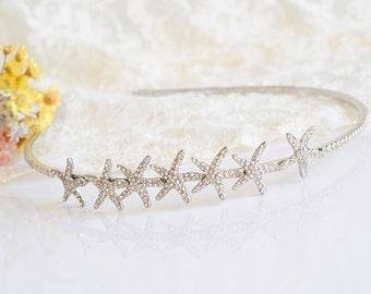 Bridal Starfish Headband, Crystal Starfish Wedding Headband, Beach Wedding Hair Accessories, Destination Wedding Hair Jewelry, STARFISH