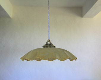 French Vintage Glass Ceiling Light Opaline Glass Light Fitting Yellow and Orange Color