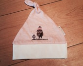 Organic owl baby girl knotted hat, peach and cream, 0-7 months