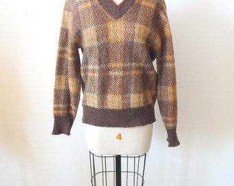 Vintage Boyfriend Lambswool Mohair Plaid V-Neck Sweater