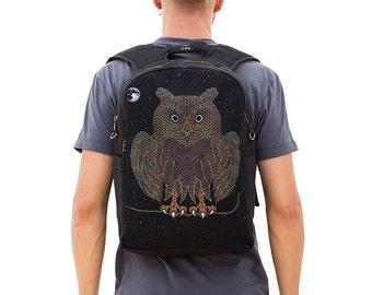 Psychedelic Owl Backpack, Laptop Bag, Festival Backpack, Laptop Backpack 13-15-17 inch, Small Backpack, Uv Glow, Psytrance