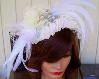 Fascinator (F606) Ascot Derby, Derby Races Hat, Diner en Blanc, White Ruffles, Feathers, Ivory Organza Roses, Silver Coils, Swarovski