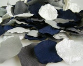 Navy Grey Silver Rose Petals - Artificial Petals - Bridal Shower Wedding Decoration - Flower Girl Petals - Table Scatter - Aisle Decoration
